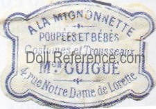 A La Mignonnette doll shop mark label (G. Guigue)