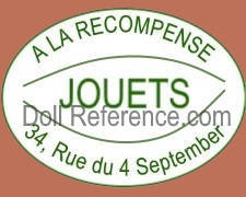 A La Récompense doll shoe mark label Jouets 34, Rue du 4 September