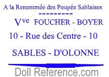 A La Renommée des Poupee Sablaises doll shop mark label (Foucher-Boyer)