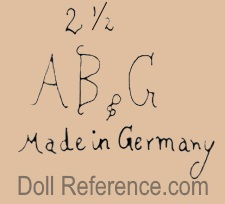 Alt, Beck Gottschalck doll mark 2 1/2 AB & G Made in Germany
