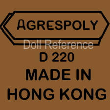 Agrespoly black doll mark D220 Made in Hong Kong