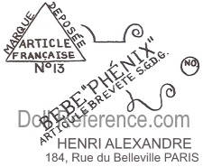 Henri Alexandre doll maker address 184 Rus du Belleville, Paris France label
