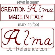 Alma Company cloth doll mark Creation Alma Made in Italy label