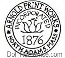 Arnold Print Works Inc. 1876 North Adams, Mass doll mark