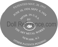 The Art Metal Works doll mark June 10, 1924, Sept. 9, 1924 MFDR. in USA label