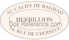Au Calife de Bagdad doll mark label 14 Rue du Choisel (Herbillion)