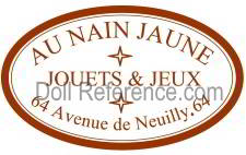 Au Nain Jaune doll mark label 64 Avenue de Neuilly 64.