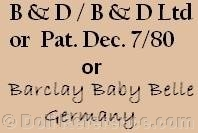 Bawo & Dotter doll mark B & D, Pat. Dec. 7/80, Barclay Baby Belle Germany