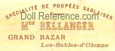 Bellanger doll store label Grand Bazaar