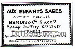 Benon & Cie doll shop label Aux Enfants Sages