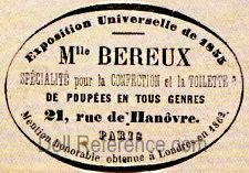 Louise Bereux doll mark label 21, Rue rue de Hanôvre Paris