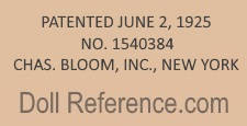 Charles Bloom, Inc.  doll mark Patented June 2, 1925 No. 1540384 Chas. Bloom, Inc. New York