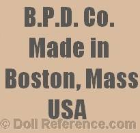Boston Pottery doll mark B.P.D. Co. Made in Boston, Mass USA