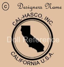 Cal-Hasco, Inc. doll mark state of California, USA inside a circle with © designers name