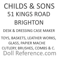 Child's & Sons doll mark 51 Kings Road, Brighton, label