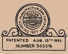 Cocheco Manufacturing Company 1827 Lawrence Co. doll mark Boston, NY, Phila.