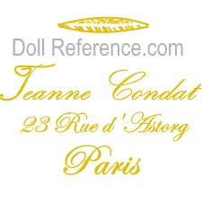 Jeanne Condat doll fabric mark label 23 Rue d'Astorg Paris