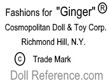 Cosmopolitan Doll Corp. doll mark Ginger