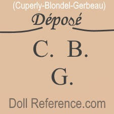 Cuperly, Blondel, Gerbeau doll mark, doll service, Depose C.B.G