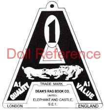 Dean's Rag Book doll hang tag symbol two dogs fighting over a book