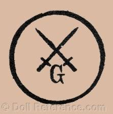 Theodor Degenring, Günthersfeld Porzellanfabrik doll mark two crossed swords initial G in side a circle