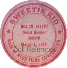 Duckme Doll Company doll mark Sweetie Kid Made of Wood Fibre Composition Design Patent Serial Number 238398, March 4, 1919