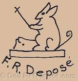 Falck & Roussel doll mark rabbit symbol beating a drum F.R. Depose