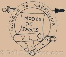 French doll clothes mark Modes de Paris VL, unknown