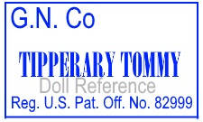 German Novelty Company NYC doll mark G.N.Co, Tipperary Tommy, Reg. U.S. Pat. Off. No. 82999