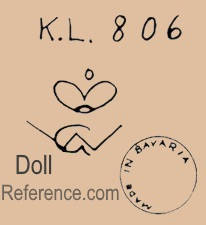 William Goebel doll mark K.L. 806 crown symbol WG Made in Bavaria stamp