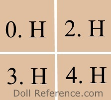 Halopeau doll mark 0.H, 2.H, 3.H, 4.H
