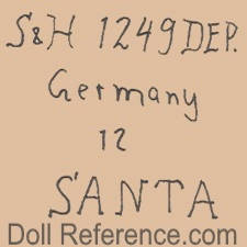Hamburger & Co. doll mark S & H 1249 DEP. Germany 12 Santa