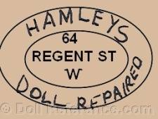 Hamleys Brothers doll mark Hamleys Doll Repaired, 64 Regent St. W