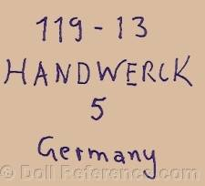 Heinrich Handwerck doll mark 119- 13 Handwerck 5 Germany