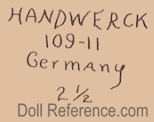 Heinrich Handwerck doll mark Handwerck 109-11 Germany 2 1/2