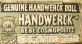 Genuine Handwerch Doll Handwerck's Bebe Cosmopolite box end graphics