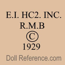 1929 Horsman doll mark E.I. HC2. INC. R.M.B. � 1929.