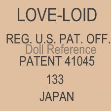 Love-Loid doll mark Reg. U.S. Pat. Off. Patent 41045 Japan