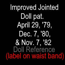 Jointed Doll Co mark - marked Improved Jointed Doll pat. April 29, '79, Dec. 7, '80, Nov. 7, '82