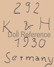 Kley & Hahn doll mark 292 K & H 1930 Germany