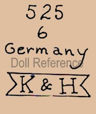 Kley & Hahn doll mark 525 6 Germany K & H (on a ribbon)