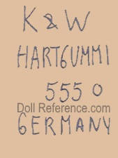 Konig & Wernicke doll mark K & W Hartgummi 555 0 Germany