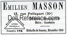 Emilien Masson doll & toy store label 15 Rue Pelleport