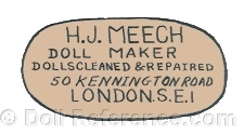 H.J. Meech Doll Maker, Dolls doll mark Cleaned & Repaired, 6, 8, 50 Kennington Road, London S.E.