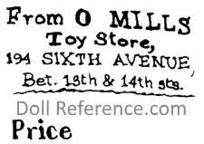 O. Mills doll mark label
