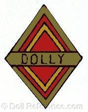 Langfelder or Morimura doll mark Dolly label inside a diamond