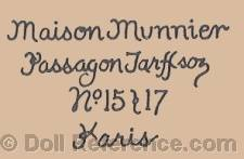 Maison Munnier doll mark label Passagon Tarffson, No. 15 & 17 Paris