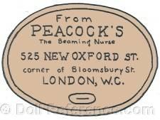 Peacock doll mark label 525 New Oxford St. corner of Bloomsbury St., London, W.C