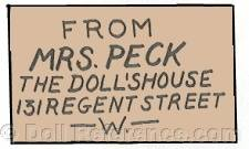 Lucy Peck doll mark label Mrs. Peck's The Doll's House 131 Regent Street London W