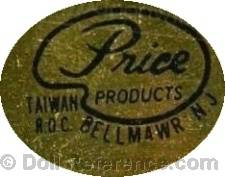 Price Products doll mark label Bellmawr, NJ Taiwan R.O.C.
